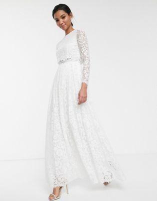 Asos Edition Lace Long Sleeve Crop Top Maxi Wedding Dress In 2020 Maxi Dress Wedding Crop Top Wedding Dress Top Wedding Dresses