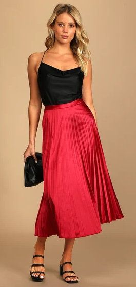 Fashionable Babe Bright Red Satin Pleated Midi Skirt (ad)