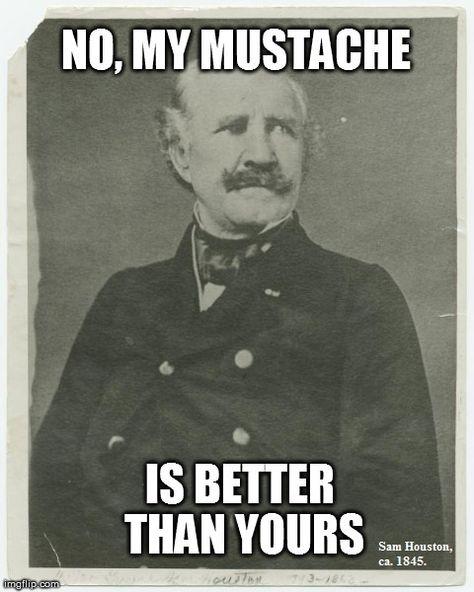 In response the American Art Museum's pin (http://pinterest.com/pin/474144666989540182/). Sam Houston had a fine mustache.