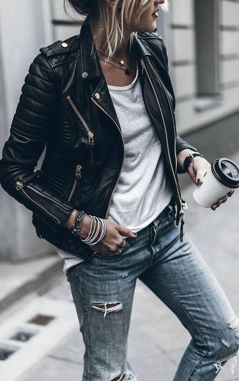 como usar jaqueta perfecto. look jeans e jaqueta de couro. como usar jaqueta perfecto. jaqueta de couro preta. look de outono. look inverno. look rocker. como usar jaqueta de couro. tendencias inverno 2018. outono 2018. look casual. look trabalho.