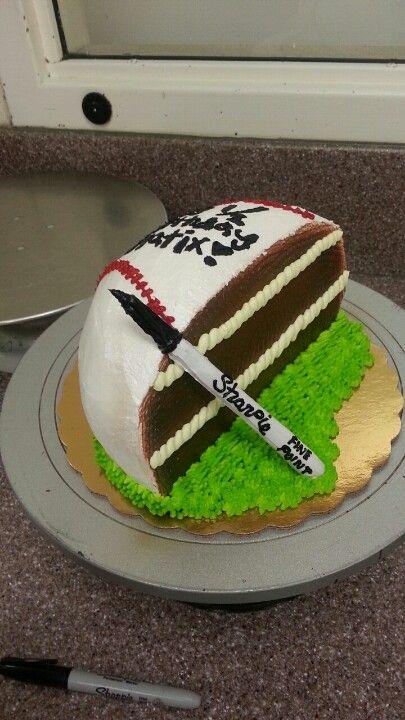 1 2 Birthday Cake Baseball