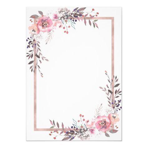 Blush & Rose Gold Framed Bridal Shower Invitation   Zazzle.com
