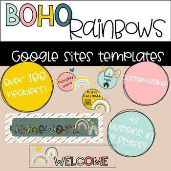 Google Sites Headers And Buttons Boho Rainbows Boho Rainbow Google Site Templates Template Site