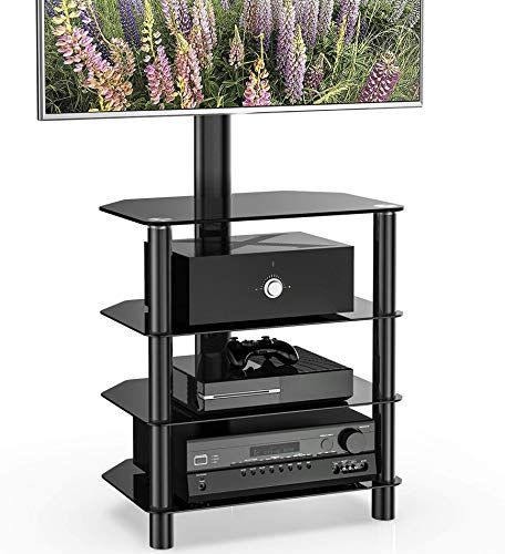 Beautiful Fitueyes 4 Tiers Corner Tv Stand With Mount Audio Shelf And Height Adjustable Bracket Suit For 32 55 Tv Stand Corner Tv Stand Tempered Glass Shelves