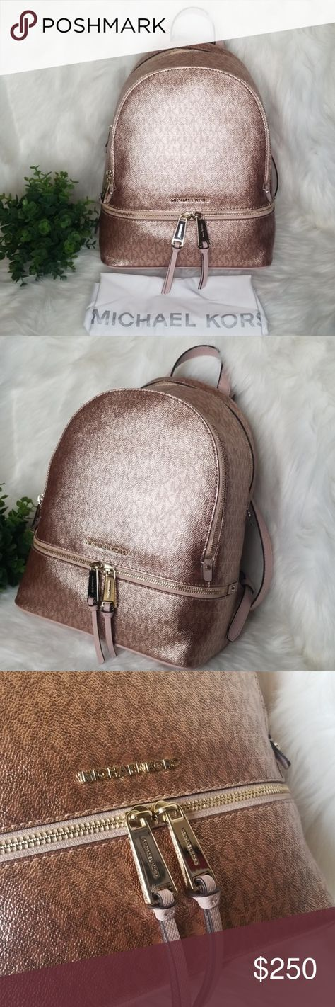 5bf2a4268b52 NWT MICHAEL KORS RHEA BACKPACK ROSE GOLD SOFT PINK NWT MICHAEL KORS RHEA  BACKPACK METALLIC ROSE