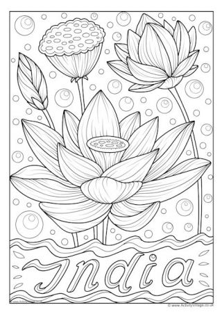 India National Flower Colouring Page Flower Coloring Pages Coloring Pages India Map