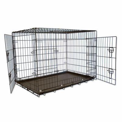 42 Foldable Double Door Pet Crate With Divider Black Pet Crate Pet Training Cat Crate