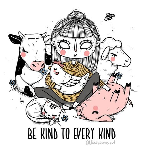 """be kind to every kind"" ❤️// finally finished this old sketch from 2 years ago 😳🙈 i made it when i was living and working in hobart -…"