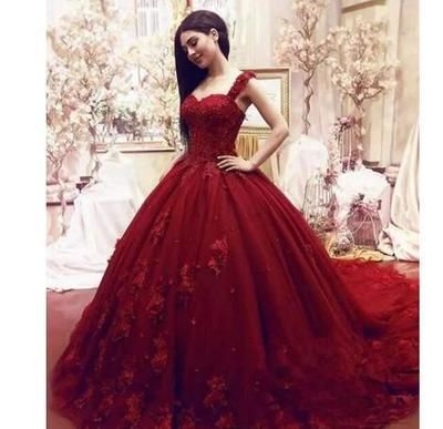 109b191603b 2018 Quinceanera Dresses Burgundy Lace Satin Ball Gown Quince Off ...