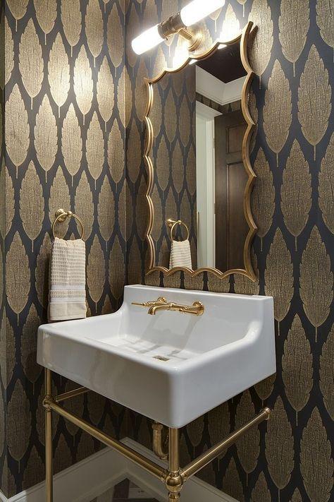 Golden metallic wallpaper Bathroom Powder room wit ...