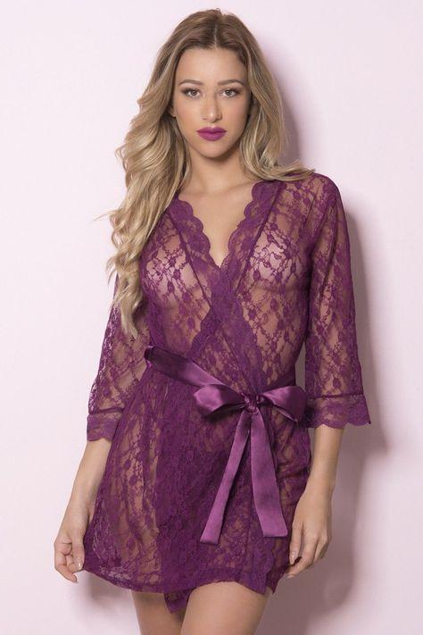 cc25e616fb2c0 Pietra Lace Robe by Oh La La Cheri - Amaranth | Kimonos and Robes ...