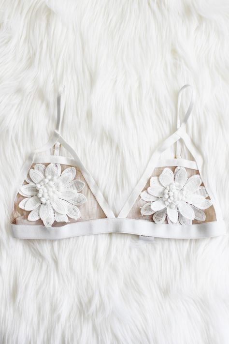 """- Details - Size - Shipping - • 100% Polyester • Floral aplique bralette with adjustable straps and waist • Hand Wash • Line dry • Imported • Measured from small • Length 9.5"""" • Chest 12.5"""" - Free dom"""
