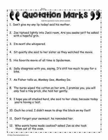 Quotation Marks Worksheet Quotations Indirect Quotes Word Problem Worksheets Quotation marks worksheets second grade