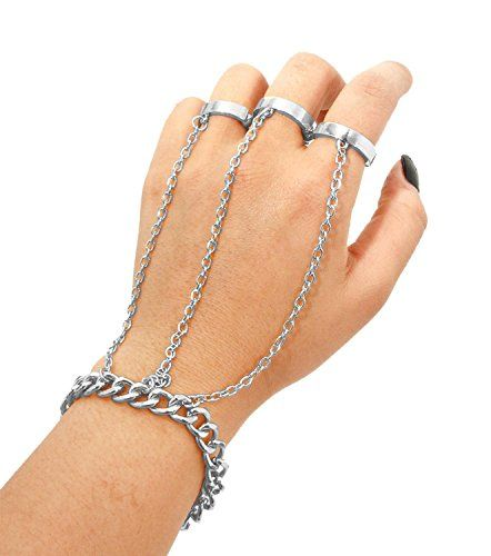 Three Finger Double Hand Ring Chain / Slave Bracelet / Bracelet and Ring Set / Weird Jewelry, Hand Jewelry, Cute Jewelry, Emo Jewelry, Unusual Jewelry, Grunge Accessories, Grunge Jewelry, Jewelry Accessories, Fashion Accessories