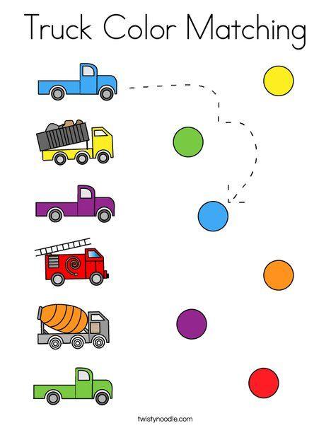 Truck Color Matching Coloring Page Twisty Noodle Preschool Activity Sheets Preschool Colors Activity Sheets For Kids Coloring activity for preschoolers