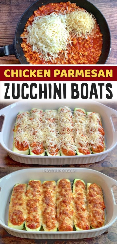 If you're looking for easy keto dinner ideas, these chicken parmesan stuffed zucchini boats are a slam dunk. Even my kids love this simple, healthy and low carb recipe. The zucchini provides the perfect crunch, and the chicken stuffing is super cheesy and flavorful. The parmesan gets that irresistible toasty goodness that makes all the difference. I love making these for busy weeknight meals! I serve it with garlic bread for the kids and hubby.