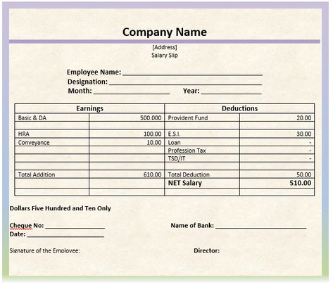 Monthly Salary Slip Format Word Template Microsoft Word