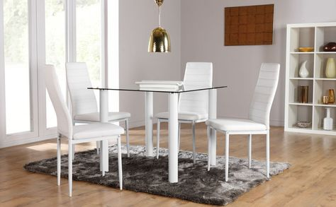 Nova Lunar Square Glass Dining Room Table And 2 4 Chairs Set