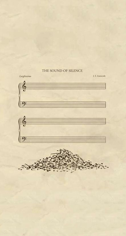 A poster of 'The Sound Of Silence' is visualised meaning of words to use metaphor. A word 'sound' visualises to notes and 'silence' is empty manuscript. Pile of notes serves interesting and a sense of humour. And it uses space and symmetrical layout. Humor Musical, Music Is Life, My Music, Poesia Visual, Music Jokes, Funny Music, Jolie Photo, Music Theory, Music Stuff
