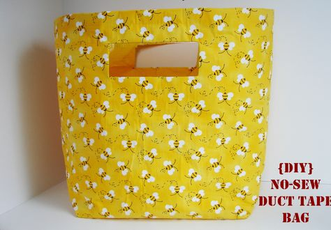 DIY no-sew duct tape bag - crazy easy to do!!  What a great idea - I'm going to try making these bigger as storage bins for my boys' rooms!!