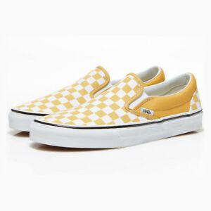 Yellow slip on vans, Checkered