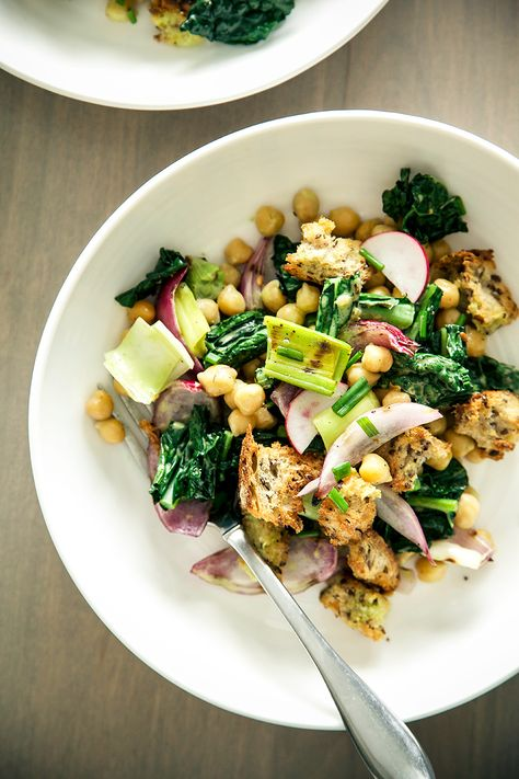 chickpea, spring onion + tuscan kale salad {a spring panzanella, revisited} » by @Laura   The First Mess