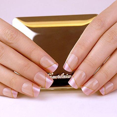 French Manicure Full Cover Strip Of Gold Medium Length Fake Nail Fake Nails False Nails French Nails