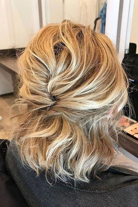 Half Up Half Down Wedding Hair Wedding Hair And Makeup Cost Wedding Hair Stylists Curly Wedding Hair U In 2020 Short Wedding Hair Short Hair Updo Thick Hair Styles