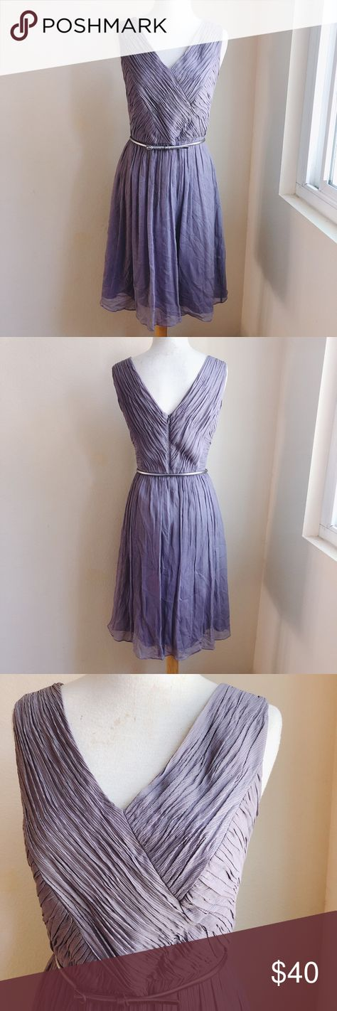 Donna Morgan Bridesmaid Dress with Belt Dove Grey This beautiful wedding bridesmaid dress is from Donna Morgan. The crystal pleated bust area is fully lined and there is a thin Silver leather belt that the dress comes with! It is a Dove Grey.  Like a Medium Grey with slight tints of lavender. Donna Morgan Dresses Wedding