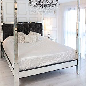 Venetian Four Poster Mirrored Bed 6ft In 2020 Mirrored Bedroom Furniture Contemporary Bed Furniture