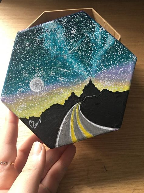 Simple Canvas Paintings, Small Canvas Art, Mini Canvas Art, Cute Paintings, Acrylic Painting Canvas, Indian Paintings, Small Paintings, Road Painting, Space Painting