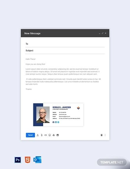 Simple Construction Email Signature Template Free Outlook Html5 Psd Template Net Business Plan Template Business Plan Template Word Business Plan Template Free