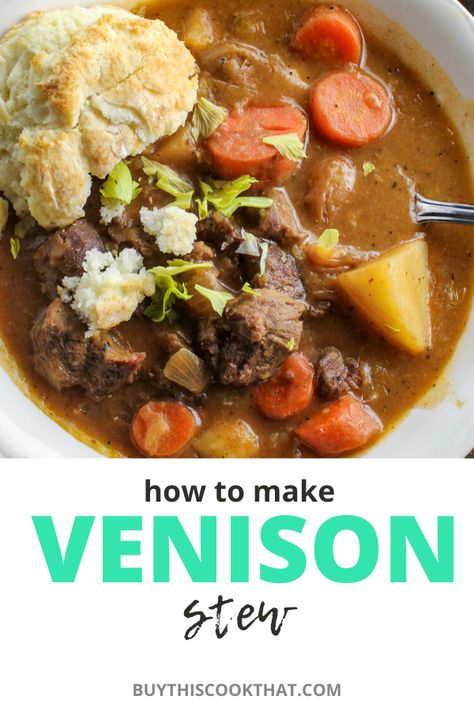 How to Make Venison Stew Hearty wholesome and comforting this recipe for venison stew is full of tender chunks of venison potatoes onions and more. Learn how to make it from start to finish with our easy venison recipe. Easy Venison Recipes, Deer Recipes, Stew Meat Recipes, Easy Soup Recipes, Cooking Recipes, Ground Venison Recipes, Dutch Recipes, Game Recipes, Sausage Recipes