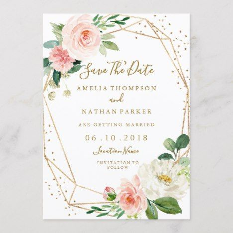 90f22ad84d9aa Blush Gold Floral Geometric Wedding Save The Date | Zazzle.com in ...