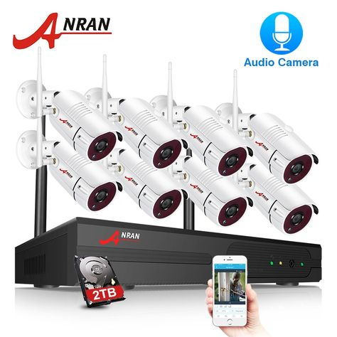 ANRAN 1080P 4//8CH Wireless Security Camera System Outdoor 2TB HDD Home Security