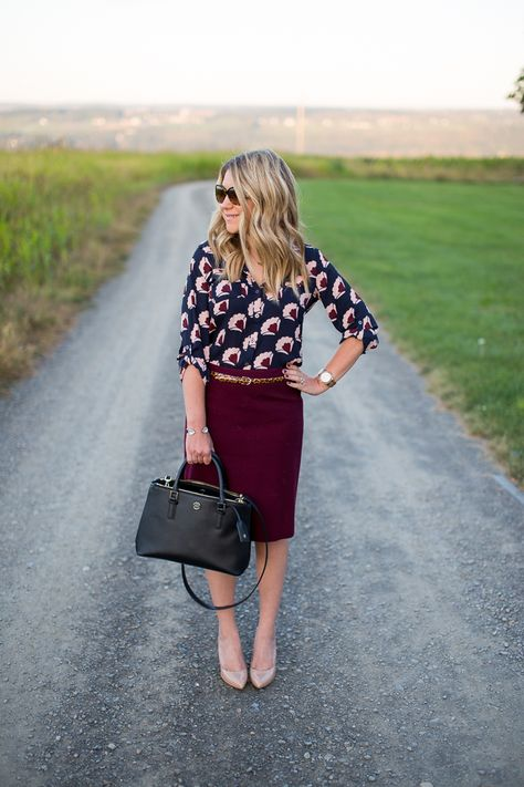 printed blouse burgundy pencil skirt work outfit....follow this board for more what to wear to work ideas!