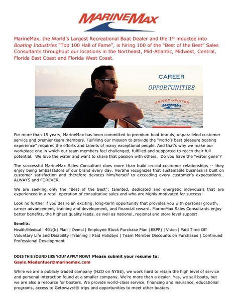 MarineMax Sales Professionals Trending in May Pinterest - sales consultant sample resume