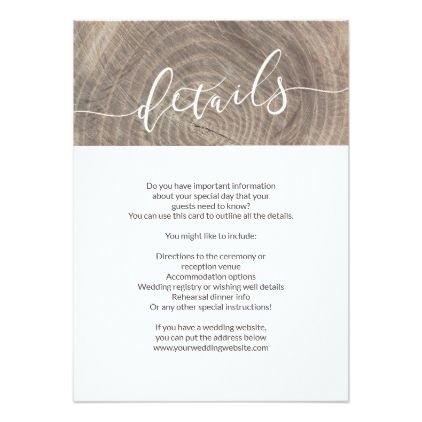 Rustic Wood Wedding Details Card Zazzle Com Wedding Details