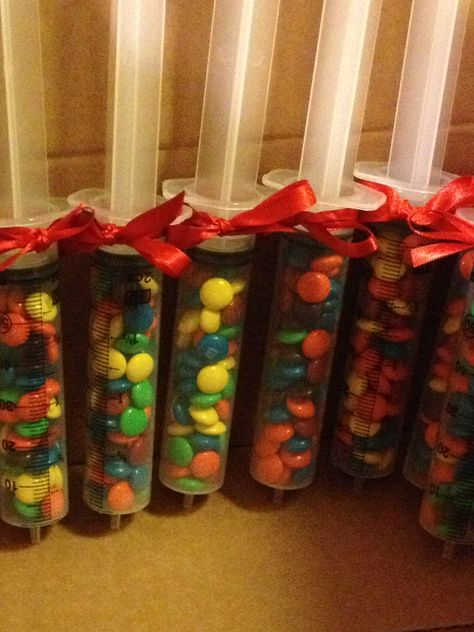 M&M filled medical syringes- doctors day luncheon favors!