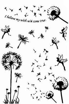 Fairy Temporary Tattoo - Dandelion Black Tattoo Bird Sticker Tattoo for Women