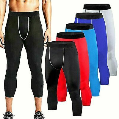 Mens Compression Base Layer Slim Fitness Cropped Leggings Pants Sport Trousers