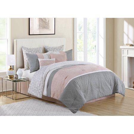 Vcny Home Blush Pink Cordelia Pieced 8 Piece Bedding Comforter Set Walmart Com Comforter Sets Pink Bedroom Decor Bed Comforters