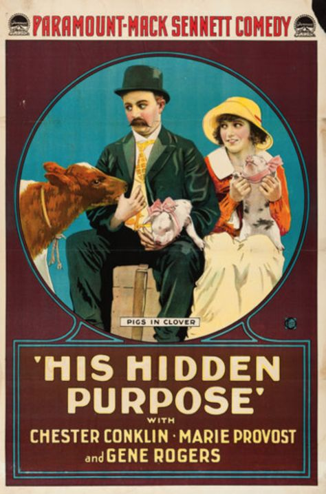 """Fatty Arbuckle  /""""Round Up/""""  vintage Film advertising poster reproduction."""