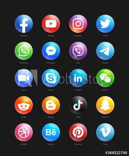 Popular Social Media Modern 3d Round Web Icons Vector Set On Black Background Facebook Youtube Instagram Whatsapp Twitter T Web Icon Vector Icon Set Web Icons