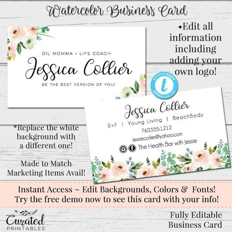Floral Watercolor Business Card Diy Business Card Watercolor Card