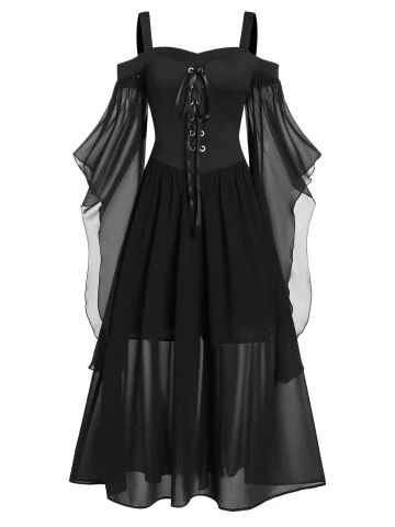 Gothic Halloween dress tied with plus size butterfly sleeves Plus Size Halloween, Gothic Halloween, Vintage Halloween, Halloween Costumes, Women Halloween, Anime Halloween, Toddler Halloween, Halloween 2019, Inspired Outfits