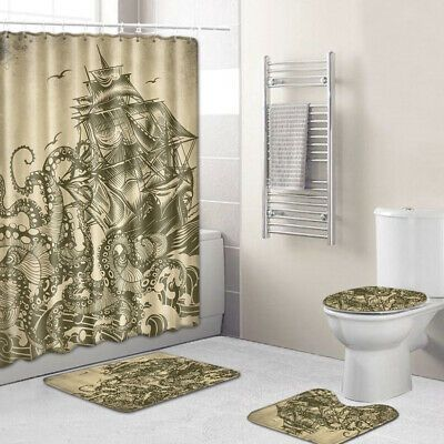 Advertisement Soft Shower Curtain Lid Anti Splash Carpet Pirate