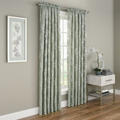 NEW 2 PRINTED SILVER GROMMET PANELS LINED BLACKOUT WINDOW CURTAIN ALMA TEAL