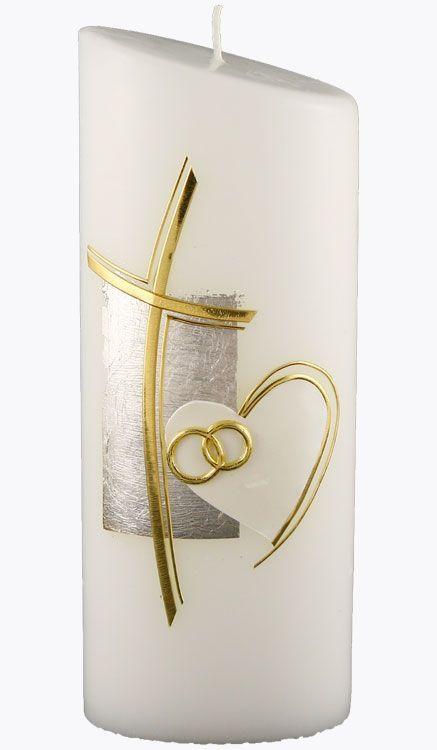 Hochzeitskerze 4416 Oval 230x90x60 Weiss Kreuz Gold Geschw