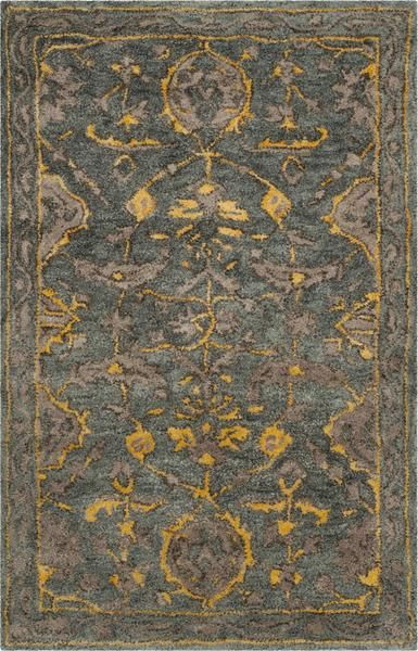 Safavieh Bella 671 Blue Grey Gold Area Rug Blue Gray Gold Grey Damask Rug Traditional Area Rugs